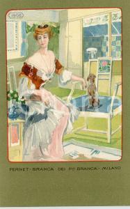 1920 ca MILANO Ditta FERNET-BRANCA Moda 1908 - Cartolina ILLUSTRATA FP NV