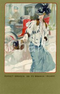 1920 ca MILANO Ditta FERNET-BRANCA Moda 1903 - Cartolina ILLUSTRATA FP NV