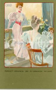 1920 ca MILANO Ditta FERNET-BRANCA Moda 1895 - Cartolina ILLUSTRATA FP NV