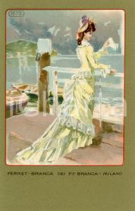 1920 ca MILANO Ditta FERNET-BRANCA Moda 1875  *Cartolina ILLUSTRATA FP NV