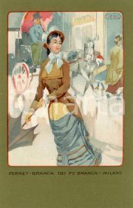 1920 ca MILANO Ditta FERNET-BRANCA Moda 1880 *Cartolina ILLUSTRATA FP NV