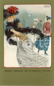 1920 ca MILANO Ditta FERNET-BRANCA Moda 1890 *Cartolina ILLUSTRATA FP NV