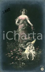1905 COSTUMI INNAMORATI Donna con elfo e fatina - Cartolina postale vintage FP