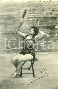 1904 BATHING BEAUTIES Woman sitting with a mirror - Vintage postcard FP VG
