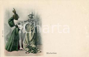 1900 ca COSTUMI Micheline - Attrice in scena con abito succinto - Cartolina FP