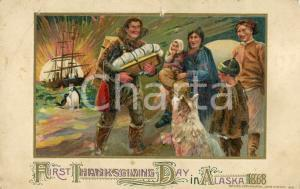 1912 USA First Thanksgiving day in ALASKA 1868 - Illustrated postcard FP NV