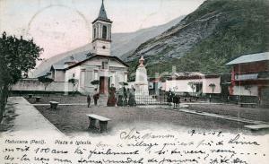 1908 MATUCANA (PERÚ) Plaza e Iglesia - Cartolina postale ANIMATA FP VG