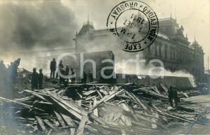 1911 MONTEVIDEO (URUGUAY) Pompieri su edificio crollato - Cartolina vintage FP