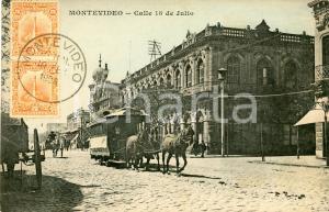 1908 MONTEVIDEO (URUGUAY) Calle 18 de Julio - Cartolina ANIMATA omnibus FP VG