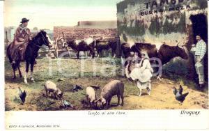 1907 COSTUMI URUGUAY Tambo al aire libre - Cartolina ANIMATA vintage FP VG