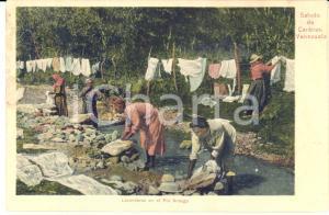 1900 ca CARACAS (VENEZUELA) Lavenderas en el Rio ANAUGO - Tarjeta postal vintage