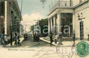 1905 ca MARACAIBO (VENEZUELA) Calle de Venezuela - Cartolina ANIMATA tram