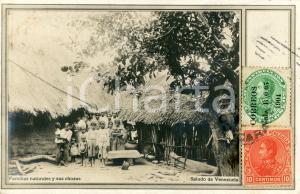 1904 INDIOS VENEZUELA Familias naturales y sus chozas - Cartolina ANIMATA FP VG