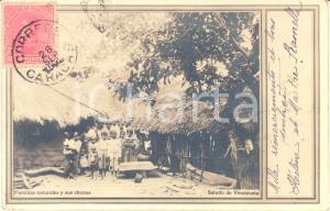 1903 INDIOS VENEZUELA Familias naturales y sus chozas - Cartolina ANIMATA FP VG