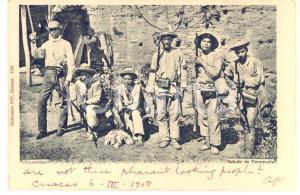 1908 COSTUMI CARACAS VENEZUELA Guerrillas - Guerriglieri - Cartolina FP VG