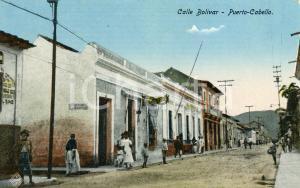 1910 ca PUERTO CABELLO (VENEZUELA) Calle Bolivar - Cartolina ANIMATA FP NV