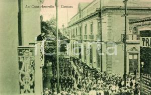 1910 ca CARACAS (VENEZUELA) La Casa Amarilla - Cartolina ANIMATA parata militare
