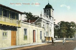 1910 ca PUERTO CABELLO (VENEZUELA) La Iglesia - Cartolina ANIMATA FP NV
