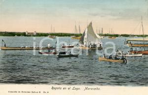 1910 ca MARACAIBO (VENEZUELA) Regata en el Lago - Cartolina ANIMATA FP NV