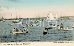 1910 ca MARACAIBO (VENEZUELA) Una tarde en el Lago - Cartolina ANIMATA barche