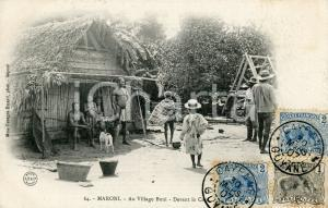 1907 CAYENNE (GUYANE) MARONI - Au Village Boni - Devant la Case - Carte postale