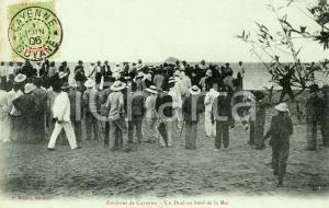 1906 CAYENNE (GUYANE) Duel au bord de la mer - Carte postale RARE FP VG