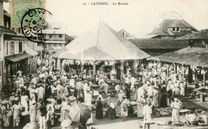 1907 CAYENNE (GUYANE) Le Marché - Carte postale VINTAGE ANIMEE FP VG