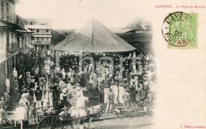 1906 CAYENNE (GUYANE) La Place du Marché - Carte postale VINTAGE ANIMEE FP VG