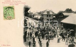 1906 CAYENNE GUYANE Fête des Coolies - Emigrants avec leur Tadjah *Carte postale