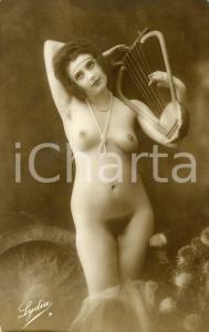 1910 ca VINTAGE EROTIC Nude woman playing the harp  - RARE  Postcard FP