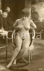 1910 ca VINTAGE EROTIC Nude woman sitting in her living room  - RARE Postcard
