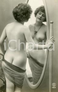 1910 ca VINTAGE EROTIC Nude woman with veil in mirror - Postcard PC PARIS 1623