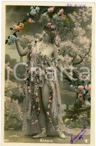 1906 VINTAGE EROTIC Actress Nina BARKIS Real Photo Hand Colour *Postcard risque