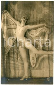 1910 ca VINTAGE EROTIC Woman dancing in a butterfly costume - Postcard topless