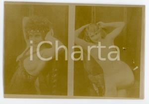1900ca VINTAGE EROTIC Nude girls lying on an armchair - Photo risque