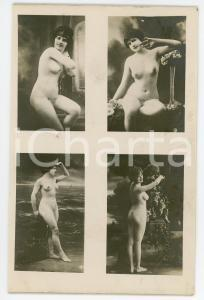 1910 ca VINTAGE EROTIC BOUDOIR Nude women with flowers - Postcard risque