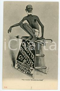 1900 ca INDIAN Calcutta prototype - Indian sandwich-man ILLUSTRATED Postcard FP