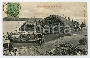 1904 INDIA Grass boats on the HOOGHLY RIVER - Vintage Postcard FP VG