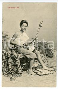1920ca SIAM - THAILANDIA Siamese girl with typical music instruments Postcard FP