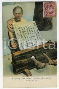 1910 ca HONG KONG The stocks - Exhibition of criminals in the street - Postcard