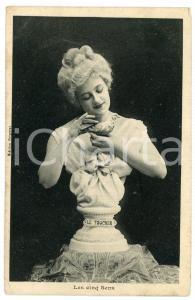 1910 LES CINQ SENS Le toucher - Statue de femme - Carte postale FP NV