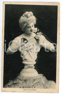 1910 LES CINQ SENS L'odorat - Statue de femme - Carte postale FP NV