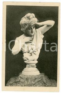 1910 ca LES CINQ SENS La vue - Statue de femme - Carte postale FP NV