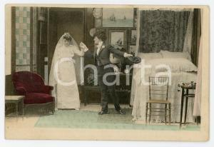 1900 ca CUSTOMS Newlyweds in their bedroom (1) - Vintage Postcard FP