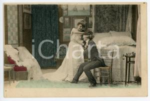 1900 ca VINTAGE EROTIC Newlyweds in their bedroom (3) - Postcard FP