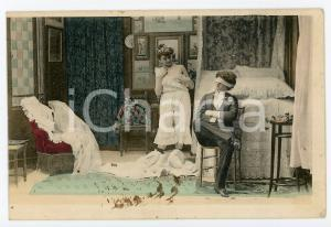 1900 ca CUSTOMS Newlyweds in their bedroom (4) - Vintage Postcard FP