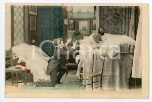 1900 ca VINTAGE EROTIC Newlyweds in their bedroom (6) - Postcard FP