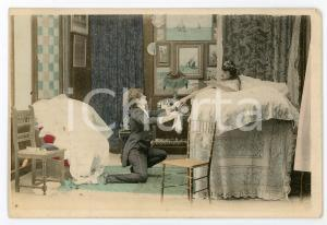 1900 ca CUSTOMS Newlyweds in their bedroom (9) - Vintage Postcard FP