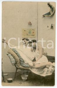 1900 ca Couple of lovers on a cot - French vintage postcard
