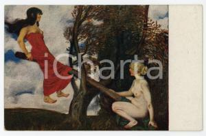 1910 ca ART Franz von Stuck - Die Schaukel - Vintage postcard ed. E.A. SEEMANN